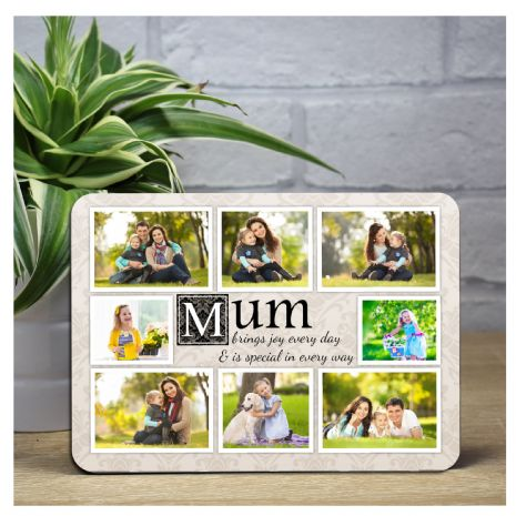 Personalised Mum Sentiment Wood Photo Panel F27 Mothers Day Birthday Christmas Gift